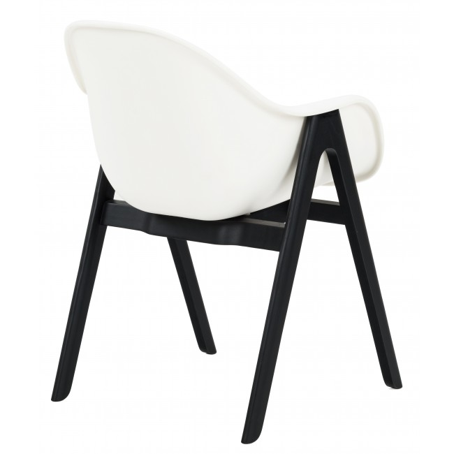 NOFU727 Dining Chair In Black Ash With White Plastic Shell ...