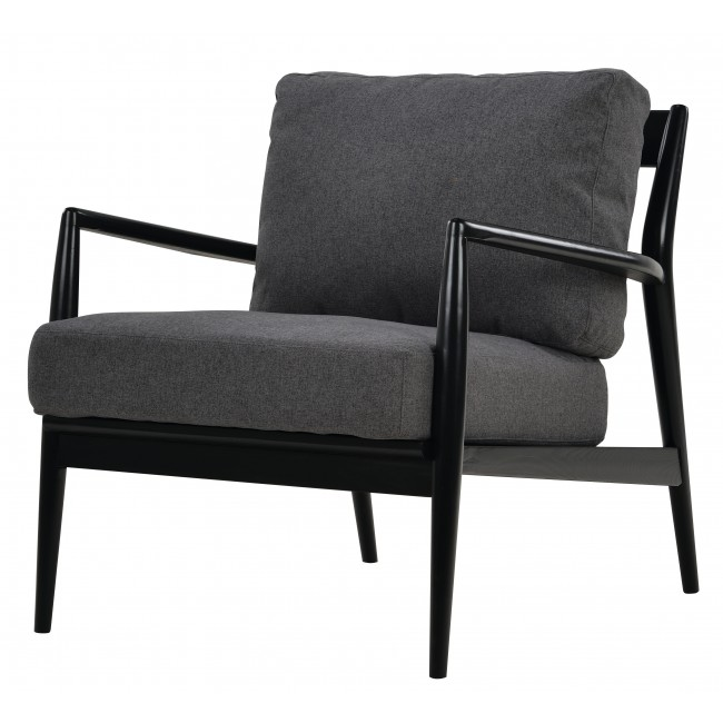 Nofu805 Sofa Chair In Black Ash With Slate Grey Cushion Stue Product