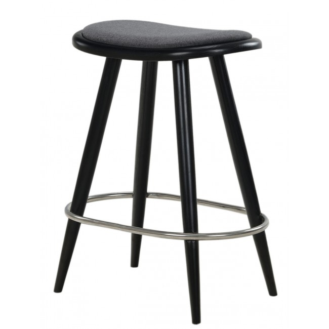 Astounding Nofu646 Bar Stool Black Ash With Slate Grey Cushion And Footrest In Stainless Steel Andrewgaddart Wooden Chair Designs For Living Room Andrewgaddartcom